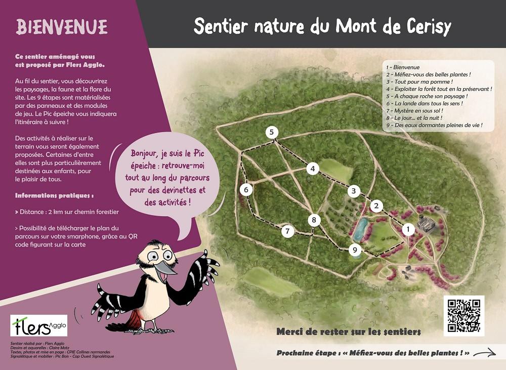 Panneau accueil du site du Mont Cerisy